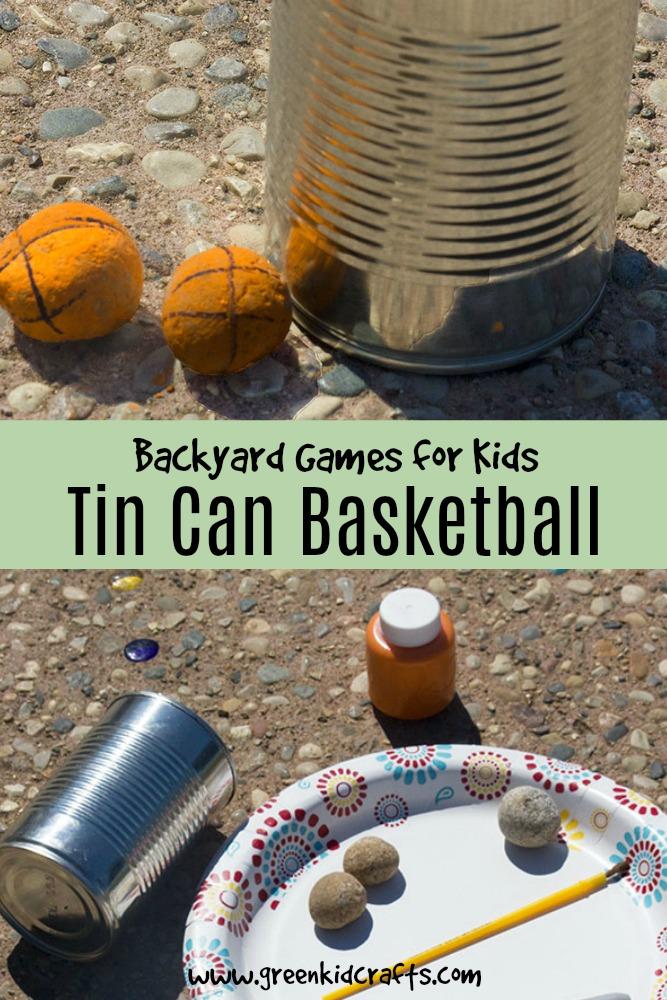 DIY backyard games for kids. Tin can basketball game.